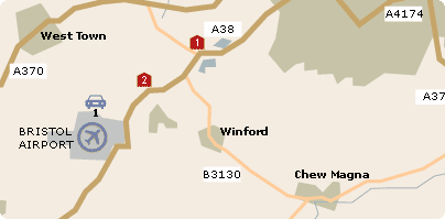 Map of Bristol Airport Parking location