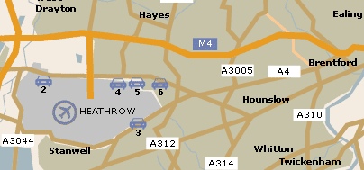 Map ofHeathrow Parking at Heathrow Airport