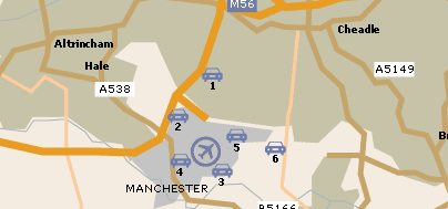 Map of Airport Parking at Manchester Airport